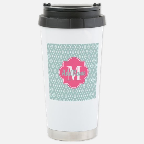 Pink Monogram and Mint Stainless Steel Travel Mug