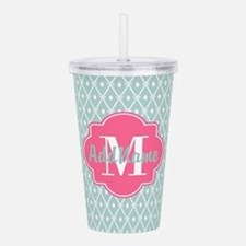 Pink Monogram and Mint Acrylic Double-wall Tumbler