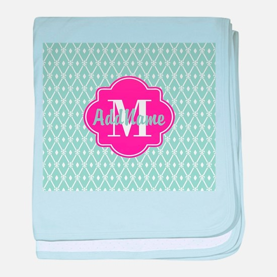 Pink Monogram and Mint Trellis baby blanket