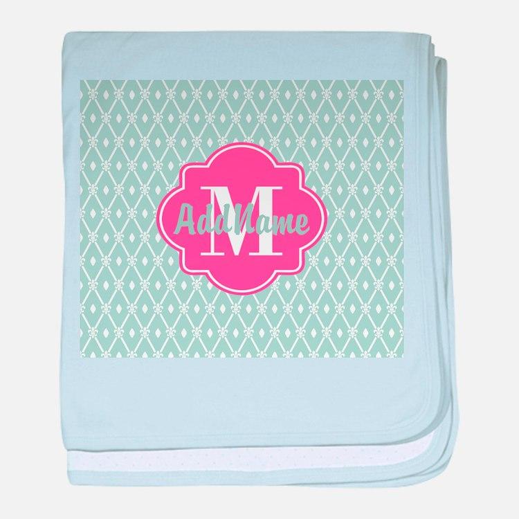 Pink Monogram and Mint Trellis baby blanket