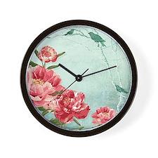 Pretty Retro Flower Peony Chintz w Bird Wall Clock
