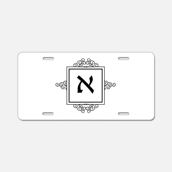 Aleph Hebrew monogram Aluminum License Plate