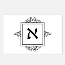 Aleph Hebrew monogram Postcards (Package of 8)