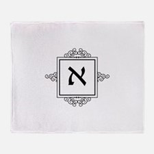 Aleph Hebrew monogram Throw Blanket