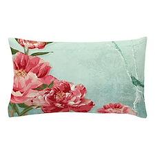 Pretty Retro Flower Peony Chintz w Bir Pillow Case