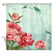 Pretty Retro Flower Peony Chintz w Shower Curtain
