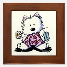 KiniArt Westie Flowers XOX Framed Tile