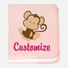 Personalize this adorable baby monkey baby blanket