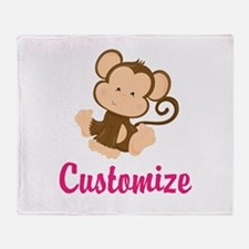 Personalize this adorable baby monke Throw Blanket