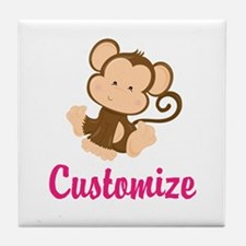 Personalize this adorable baby monkey Tile Coaster
