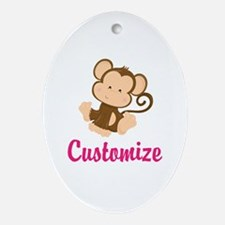 Personalize this adorable baby monke Oval Ornament