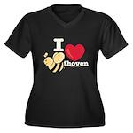 I Love Beethoven Women's Plus Size V-Neck Dark Tee