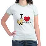 I Love Beethoven Pink Jr. Ringer T-Shirt