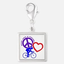 PEACE-LOVE-CYCLING Silver Square Charm