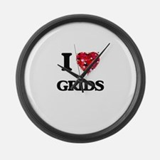 I love Grids Large Wall Clock