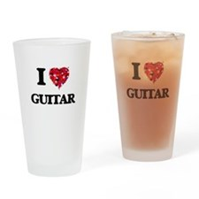 I love Guitar Drinking Glass