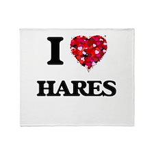 I love Hares Throw Blanket