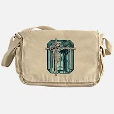 Blue-Brooch Jewelry Messenger Bag