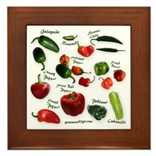 Chili Peppers Framed Tile