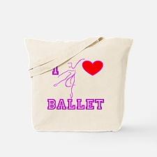 I Heart Ballet Dancer Fushia Tote Bag