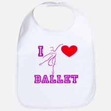 I Heart Ballet Dancer Fushia Bib