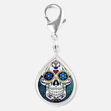 Skull Silver Teardrop Charm