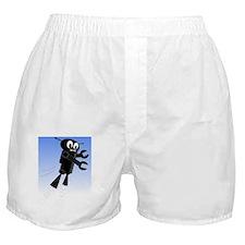 Black Flying Robot in Blue Sky Boxer Shorts