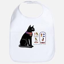 Cat Bastet & Egyptian Hieroglyphics Bib