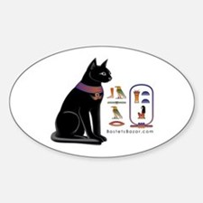 Cat Bastet & Egyptian Hieroglyphics Oval Decal