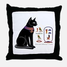 Cat Bastet & Egyptian Hieroglyphics Throw Pillow