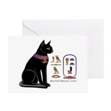 Cat Bastet & Egyptian Hieroglyphics Greeting Card