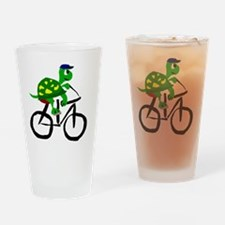 Turtle Riding Bicycle Drinking Glass