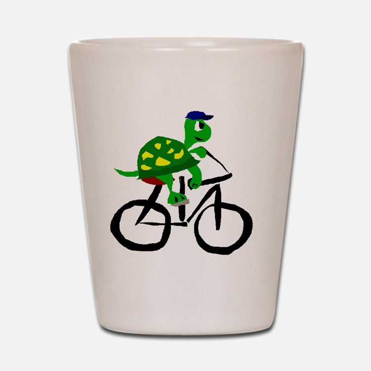 Turtle Riding Bicycle Shot Glass