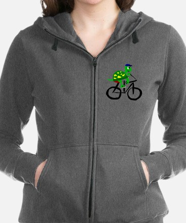 Turtle Riding Bicycle Women's Zip Hoodie