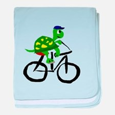 Turtle Riding Bicycle baby blanket