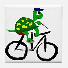 Turtle Riding Bicycle Tile Coaster