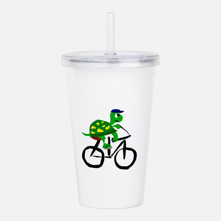 Turtle Riding Bicycle Acrylic Double-wall Tumbler