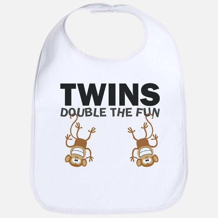 Cute Twin boys monkey Bib