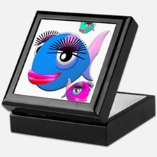 Cartoon Fish, pink, blue green Keepsake Box