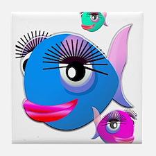 Cartoon Fish, pink, blue green Tile Coaster
