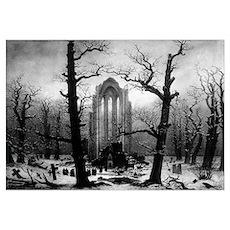 Caspar D Friedrich abbey snow Poster