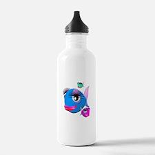 Cartoon Fish, pink, bl Water Bottle