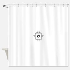 Shin Hebrew monogram Shower Curtain