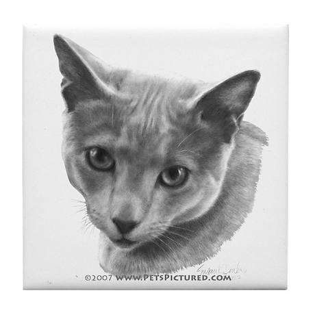 Russian Blue Cat Tile Coaster