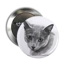 Russian Blue Cat Button