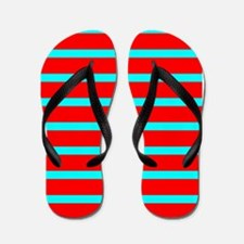 Turquoise Blue Red Stripes for Angela Flip Flops