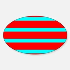 Turquoise Blue Red Stripes for Angela Decal