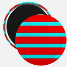 Turquoise Blue Red Stripes for Angela Magnets