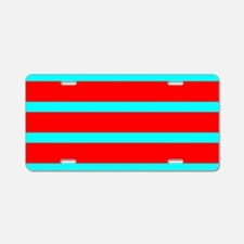 Turquoise Blue Red Stripes Aluminum License Plate