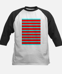 Turquoise Blue Red Stripes for AJ Baseball Jersey